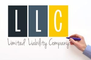 LLC. Limited liability company sign on white background